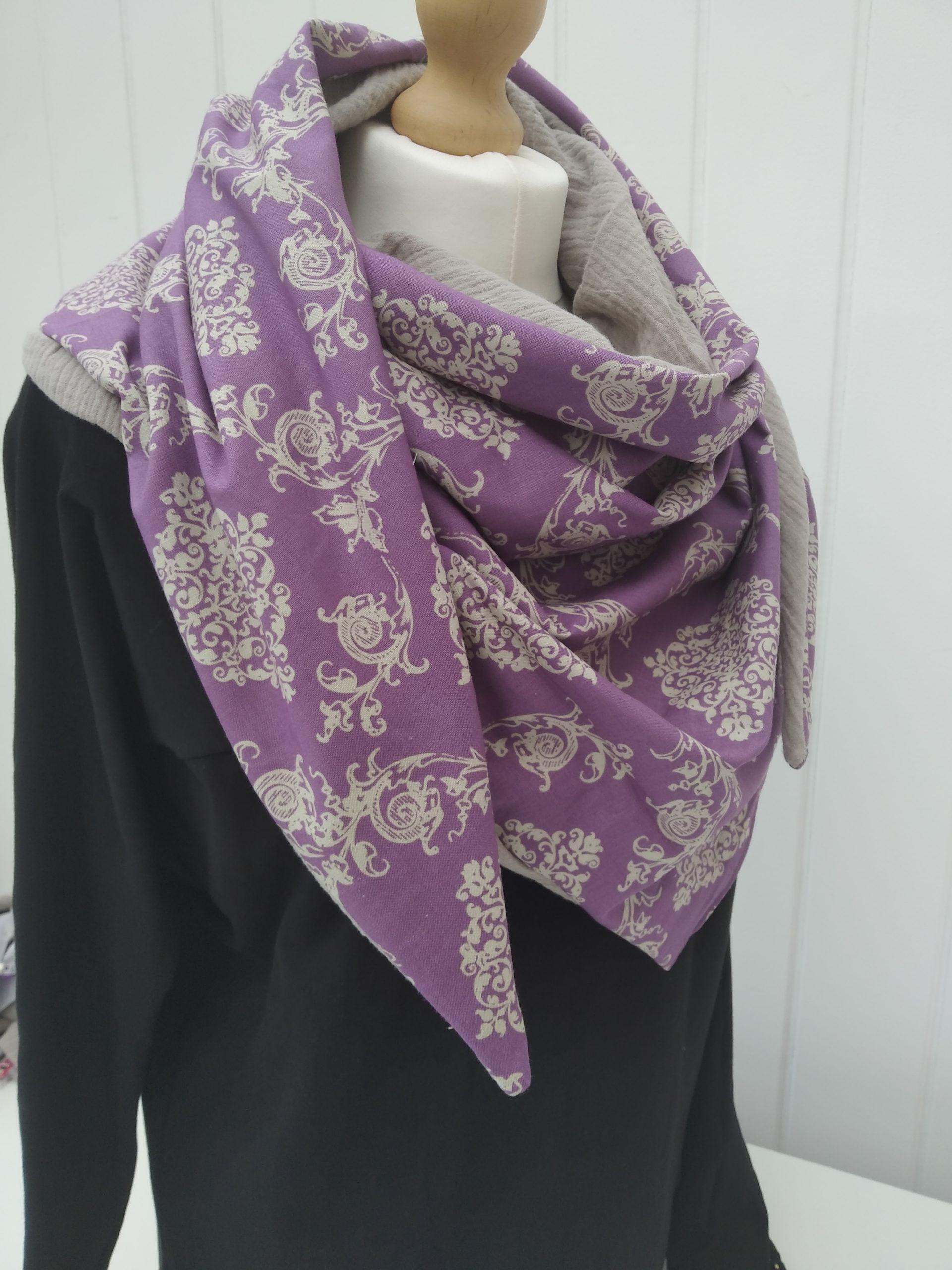cheche violet beige 3